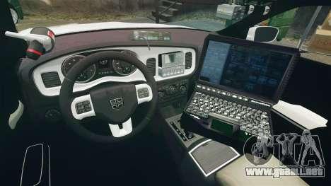 Dodge Charger RT 2012 Unmarked Police [ELS] para GTA 4 vista hacia atrás
