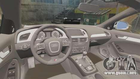 Audi S4 Unmarked Police [ELS] para GTA 4 vista lateral