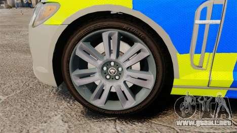 Jaguar XFR 2010 West Midlands Police [ELS] para GTA 4 vista hacia atrás