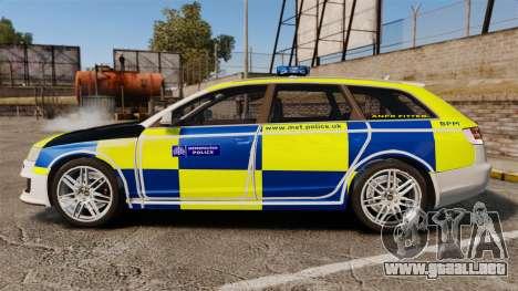 Audi RS6 Avant Metropolitan Police [ELS] para GTA 4 left