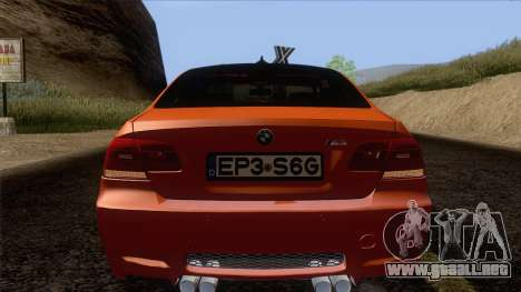 BMW M3 E92 2008 Vossen para la vista superior GTA San Andreas