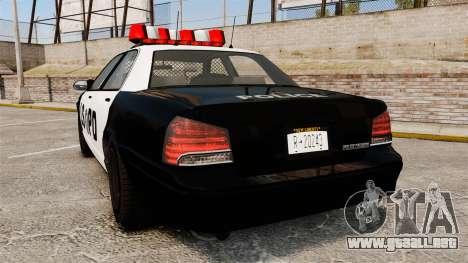 GTA V Vapid Police Cruiser LSPD para GTA 4 Vista posterior izquierda