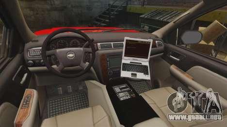 Chevrolet Tahoe Fire Chief v1.4 [ELS] para GTA 4 vista hacia atrás