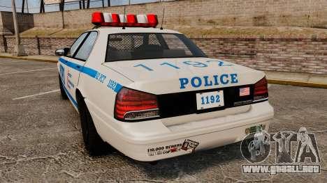 GTA V Police Vapid Cruiser NYPD para GTA 4 Vista posterior izquierda