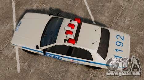 GTA V Police Vapid Cruiser NYPD para GTA 4 visión correcta