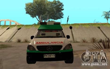 Mercedes-Benz Vito Ambulancia ACHS 2012 para visión interna GTA San Andreas