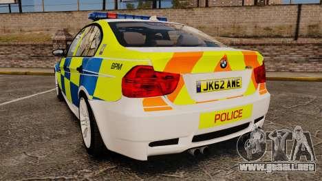 BMW M3 British Police [ELS] para GTA 4 Vista posterior izquierda