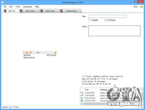 IMG Manager 2.0 para GTA San Andreas sucesivamente de pantalla