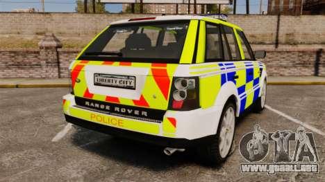 Range Rover Sport Metropolitan Police [ELS] para GTA 4 Vista posterior izquierda