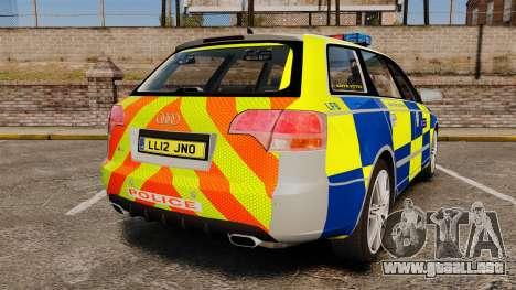 Audi S4 Avant Metropolitan Police [ELS] para GTA 4 Vista posterior izquierda