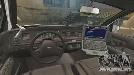 Ford Crown Victoria 1999 Unmarked Police para GTA 4 vista hacia atrás
