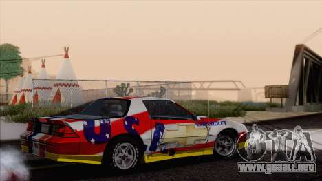 Chevrolet Camaro IROC-Z 1989 FIXED para vista inferior GTA San Andreas