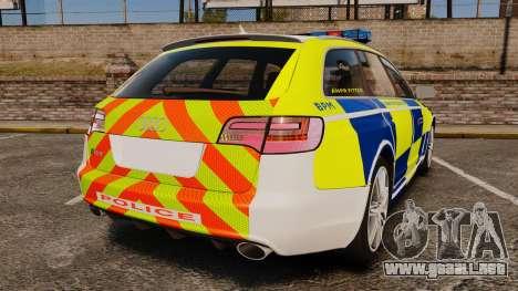 Audi RS6 Avant Metropolitan Police [ELS] para GTA 4 Vista posterior izquierda