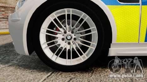 BMW M3 British Police [ELS] para GTA 4 vista hacia atrás