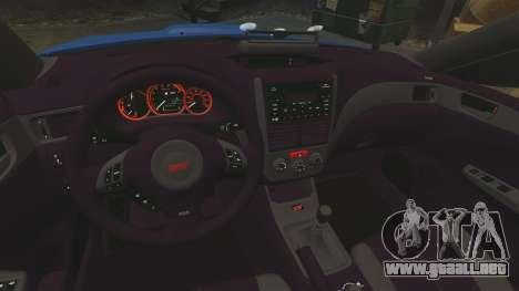 Subaru Impreza WRX STI 2011 Police [ELS] para GTA 4 vista lateral