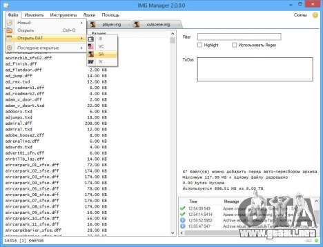IMG Manager 2.0 para GTA San Andreas sexta pantalla