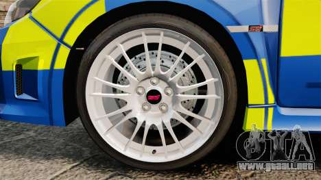 Subaru Impreza WRX STI 2011 Police [ELS] para GTA 4 vista hacia atrás