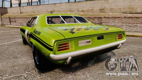 Plymouth Cuda AAR 1970 para GTA 4 Vista posterior izquierda