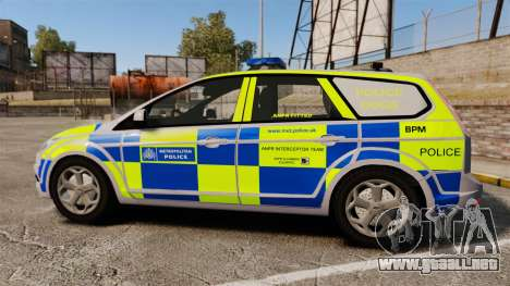 Ford Focus Estate Metropolitan Police [ELS] para GTA 4 left