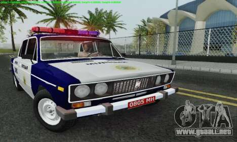 Policía 2106 VAZ para la vista superior GTA San Andreas