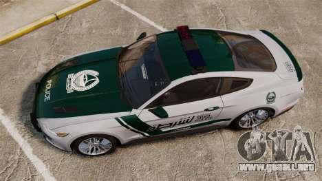 Ford Mustang GT 2015 Police para GTA 4 visión correcta