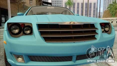 Chrysler Crossfire para GTA San Andreas vista hacia atrás