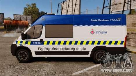 Fiat Ducato Manchester Police [ELS] para GTA 4 left