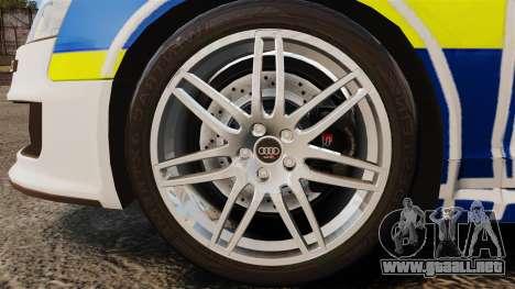 Audi RS6 Avant Metropolitan Police [ELS] para GTA 4 vista hacia atrás