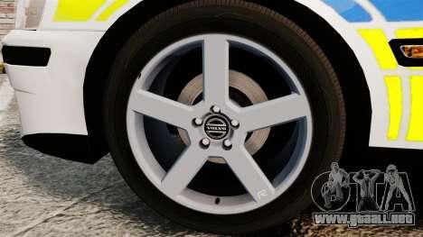 Volvo S60R Police [ELS] para GTA 4 vista hacia atrás