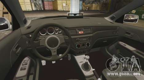 Mitsubishi Lancer Evolution IX Police [ELS] para GTA 4 vista interior