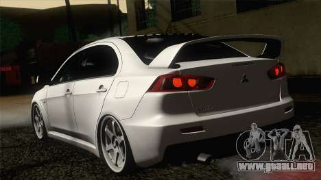 Mitsubishi Lancer X Evolution para GTA San Andreas left