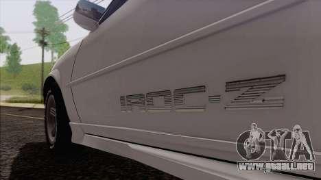 Chevrolet Camaro IROC-Z 1989 FIXED para GTA San Andreas vista hacia atrás
