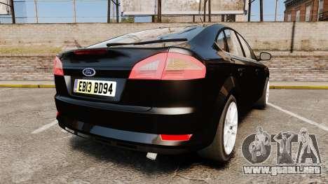 Ford Mondeo Unmarked Police [ELS] para GTA 4 Vista posterior izquierda