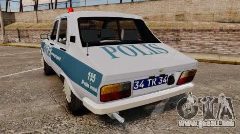 Renault 12 Turkish Police [ELS] para GTA 4 Vista posterior izquierda