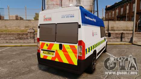 Fiat Ducato Manchester Police [ELS] para GTA 4 Vista posterior izquierda