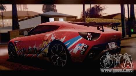 Aston Martin V12 Zagato 2012 [HQLM] para GTA San Andreas vista posterior izquierda