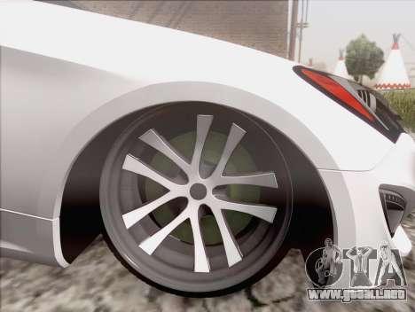 Hyundai Genesis Stance para GTA San Andreas vista posterior izquierda