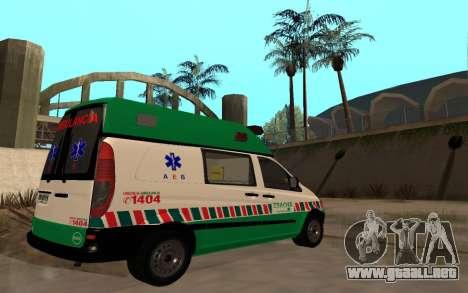 Mercedes-Benz Vito Ambulancia ACHS 2012 para GTA San Andreas vista hacia atrás