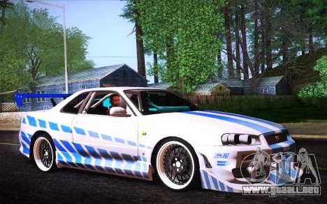 Nissan Skyline R34 FnF para GTA San Andreas left