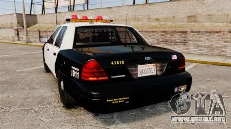 Ford Crown Victoria 1999 LAPD & GTA V LSPD para GTA 4 Vista posterior izquierda