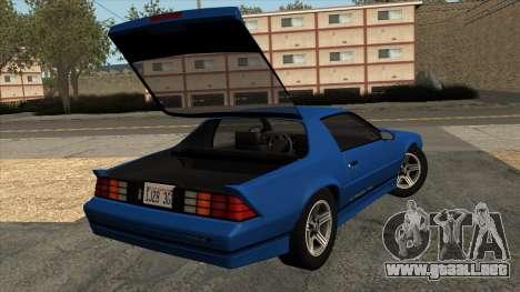 Chevrolet Camaro IROC-Z 1990 para visión interna GTA San Andreas