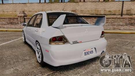 Mitsubishi Lancer Unmarked Police [ELS] para GTA 4 Vista posterior izquierda