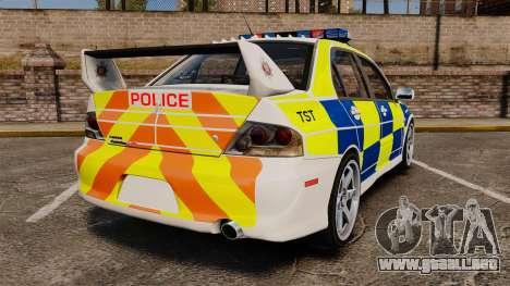 Mitsubishi Lancer Evolution IX Police [ELS] para GTA 4 Vista posterior izquierda