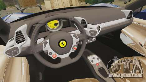 Ferrari 458 Italia Liberty Walk para GTA 4 vista interior
