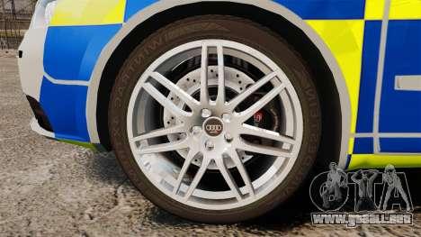 Audi S4 Avant Metropolitan Police [ELS] para GTA 4 vista hacia atrás