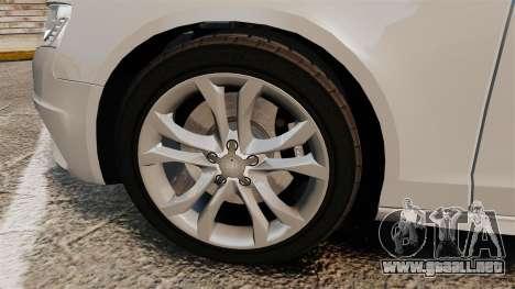 Audi S4 2010 para GTA 4 vista hacia atrás