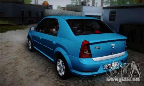 Dacia Logan para GTA San Andreas vista hacia atrás