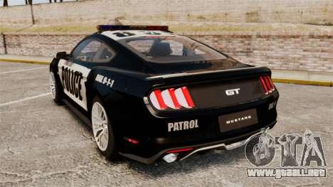 Ford Mustang GT 2015 Police para GTA 4 Vista posterior izquierda