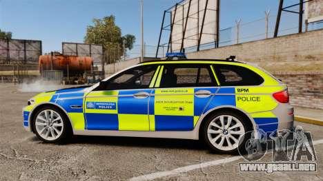 BMW 550d Touring Metropolitan Police [ELS] para GTA 4 left