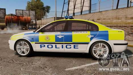 Skoda Superb 2006 Police [ELS] Whelen Edge para GTA 4 left